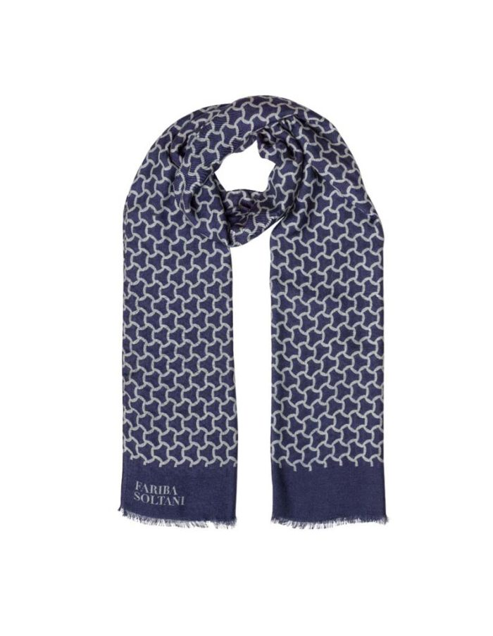 Men's Printed Navy Blue Cashmere Blend Scarf