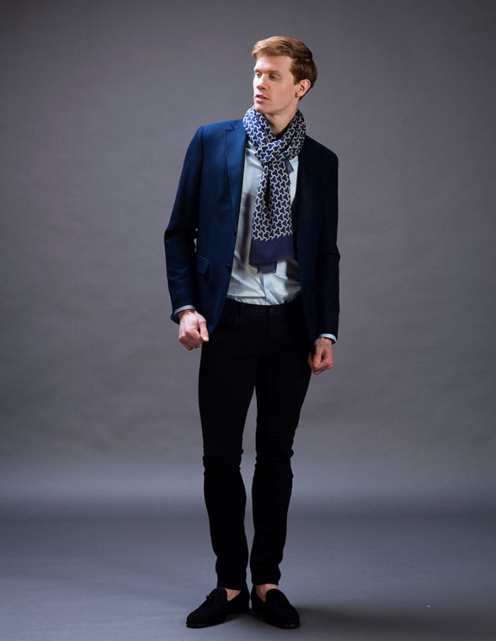 Men's Navy Blue Cashmere blended Scarf by The Radin