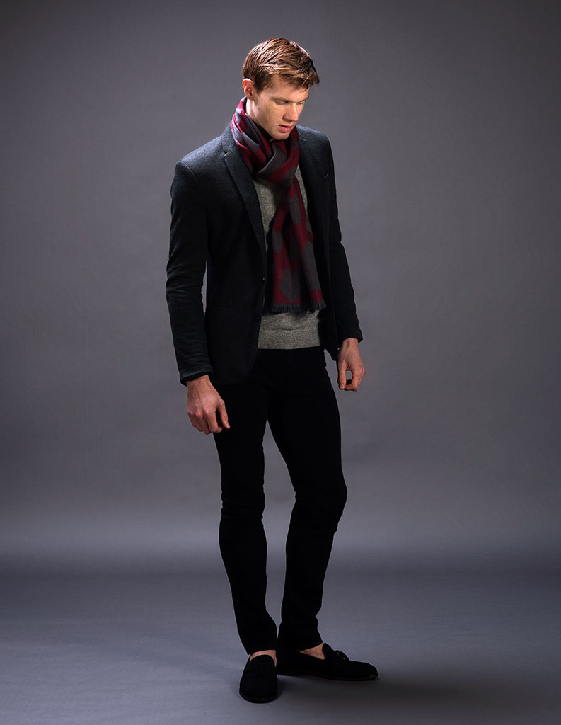 Men's Jacquard Burgundy Wool Scarf