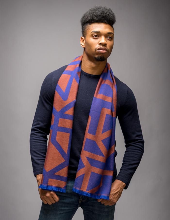 Mens jacquard scarf