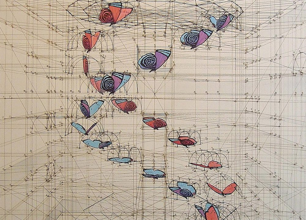 CALCULATION DRAWINGS | RAFAEL ARAUJO | Fariba Soltani | Luxury Designer Scarves for Women & Men