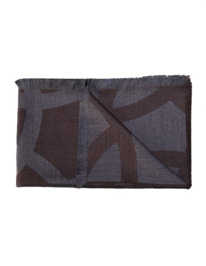 Brown Wool Jacquard Scarf