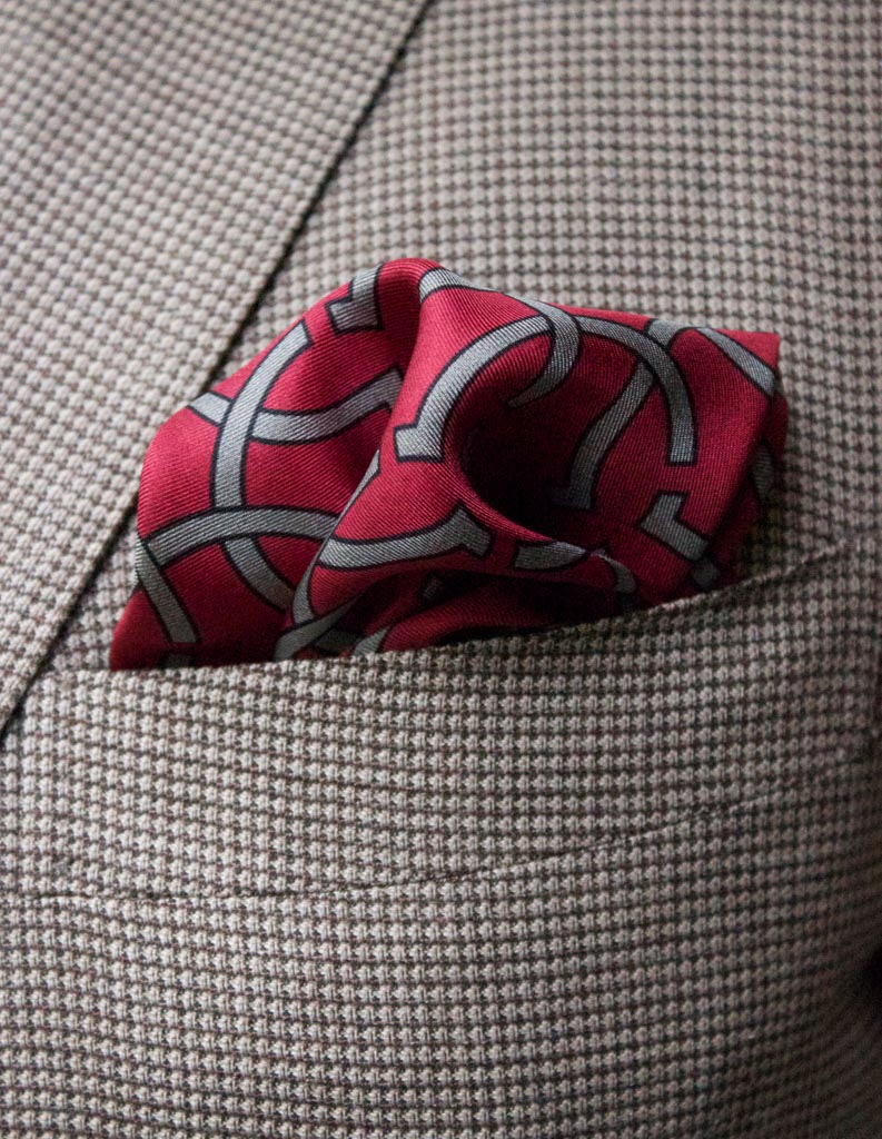 Red silk pocket squares - The Kholeno