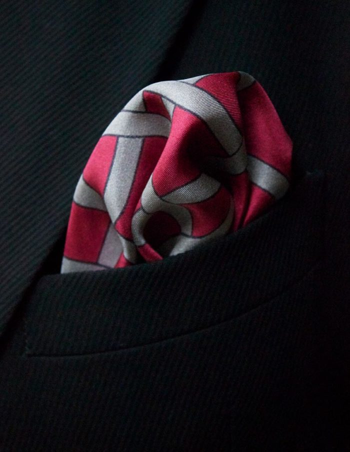 Designer Red silk pocket square by The Chaloon