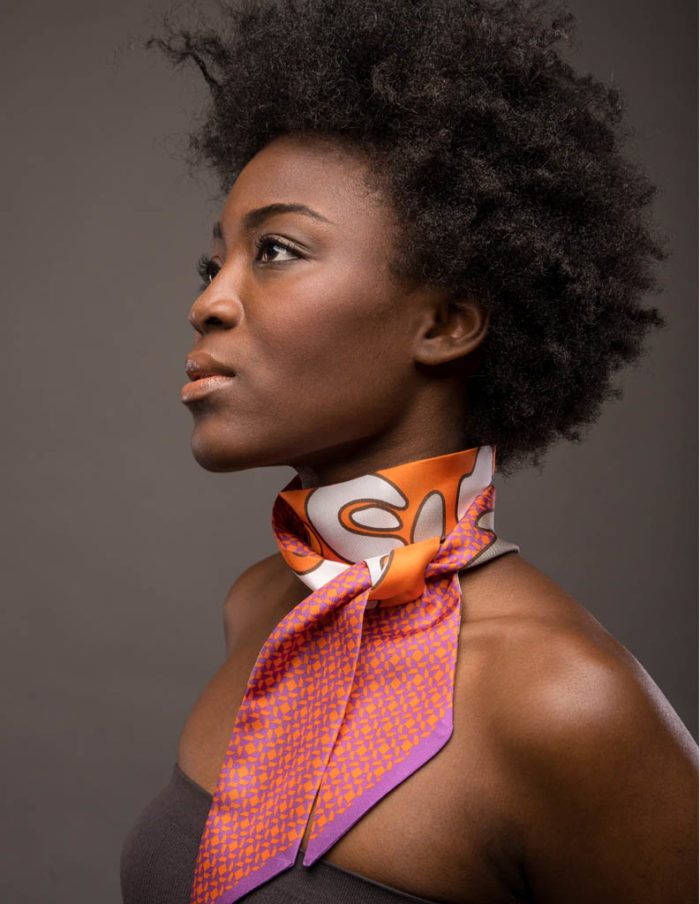 Printed Orange Twill Silk Scarf