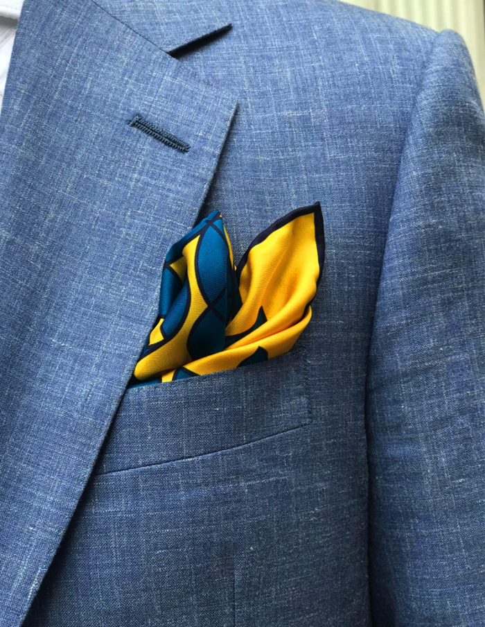Yellow blue silk pocket square